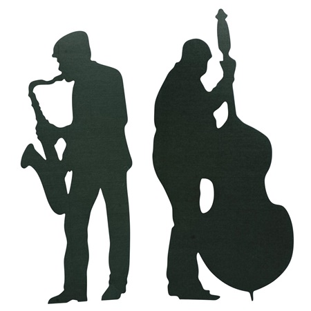 450x450 Sax And Bass Player Cut Out Silhouette