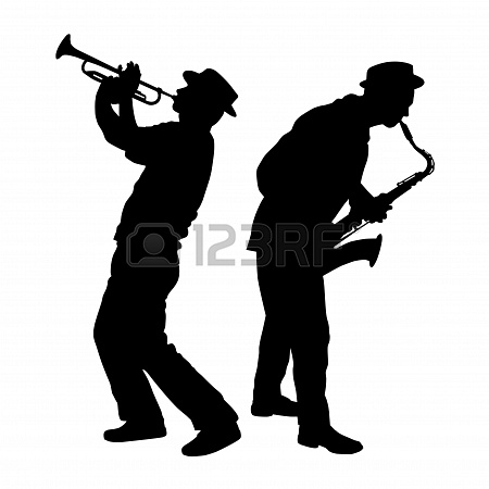 450x450 Silhouette Of A Saxophone And Trumpet Player Stock Photo