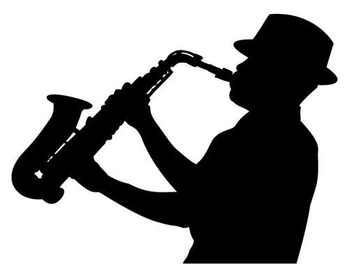 500x379 Sax Player Silhouette Silhouettes, Cutting Files And Stenciling