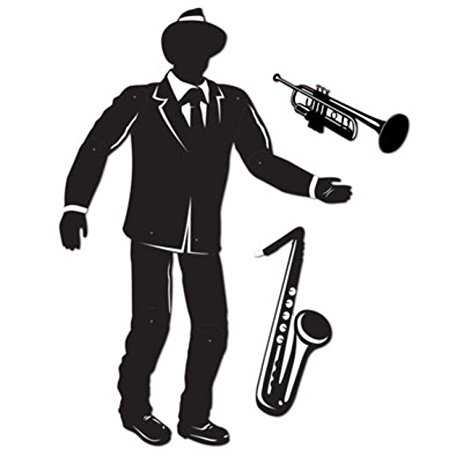 463x463 Pack Of 12 Silhouette Cutout Jazz Musician With Sax