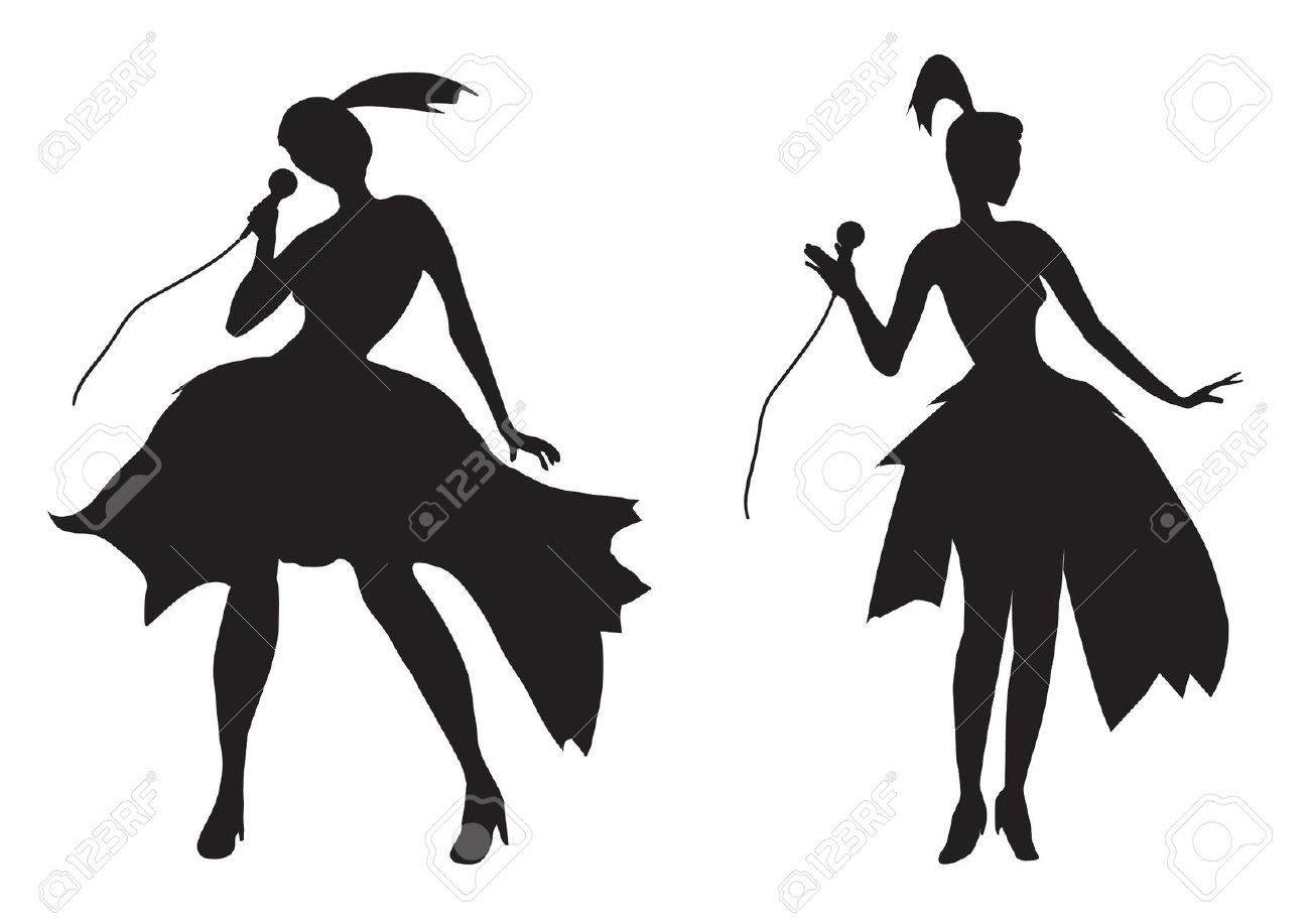 1300x917 Female Singer Silhouette Cliparts