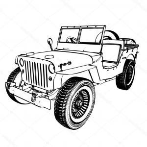 300x300 Png Vintage Car Jeep Silhouette Vector Drawing Retro C Lazttweet