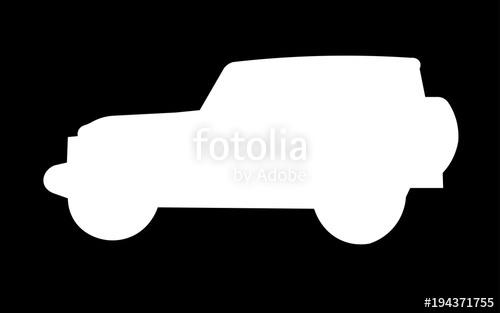 500x313 White Jeep Wrangler Silhouette On Black Background Stock Image