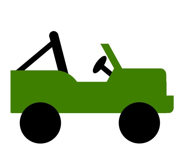 600x557 Green Jeep Clip Art