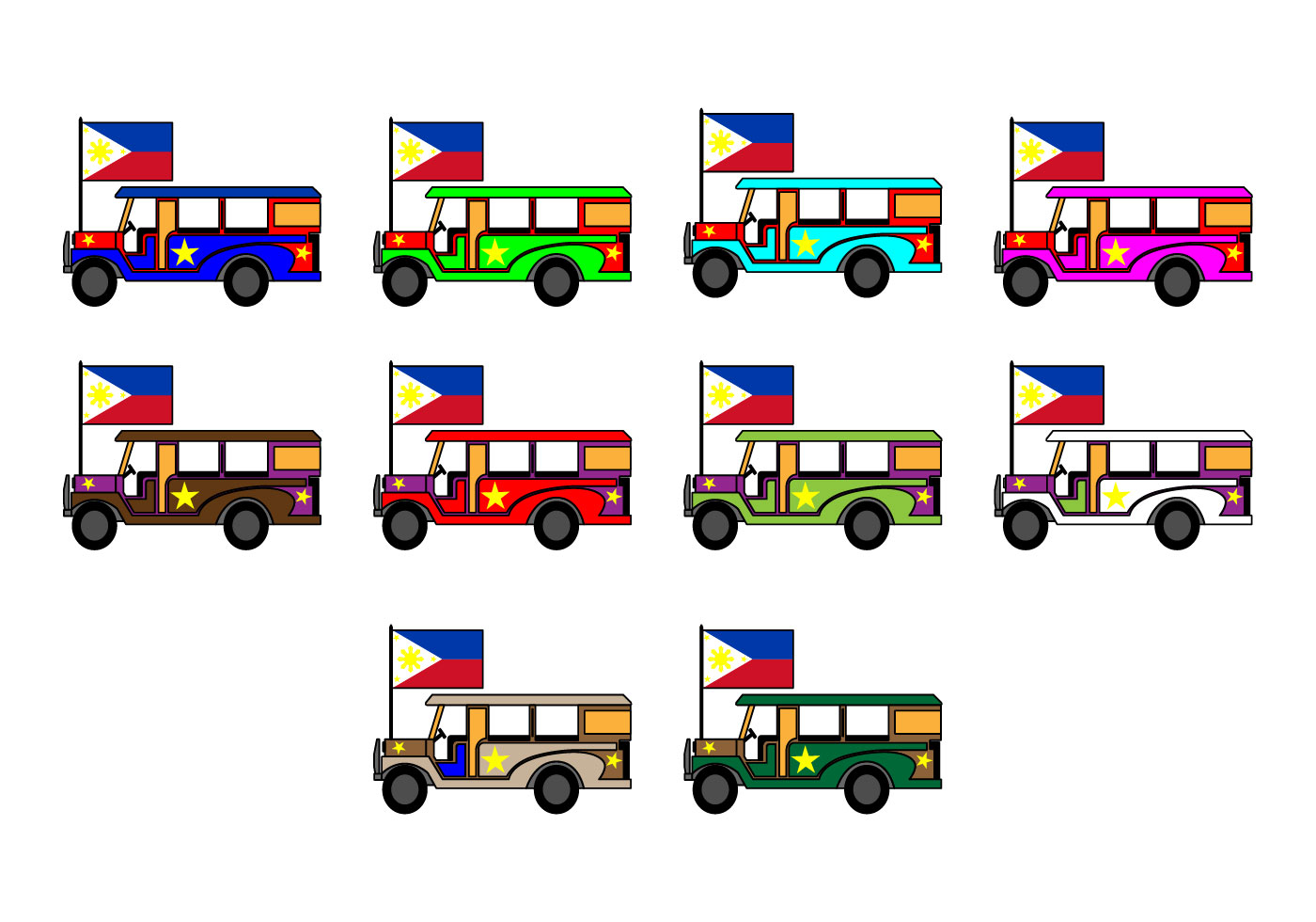 1400x980 Philippine Jeep Icon Vector