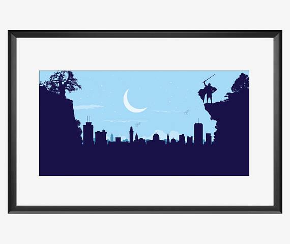 570x480 Jerusalem Skyline Print Jerusalem Print Jerusalem Art