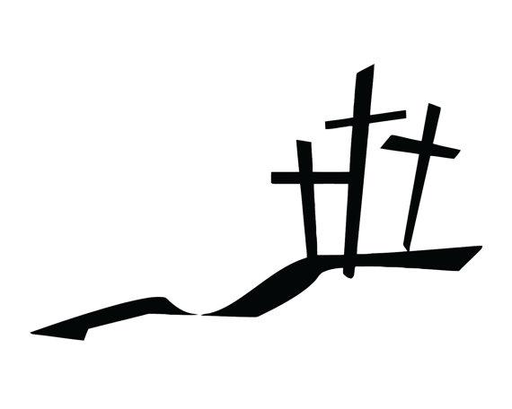 570x456 Three Crosses Decal 3 Crosses Sticker Christian 3 Cross