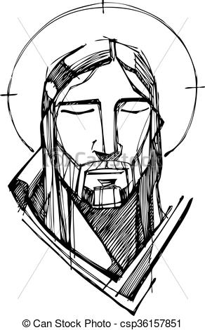 292x470 Hand Drawn Vector Illustration Or Drawing Of Jesus Christ