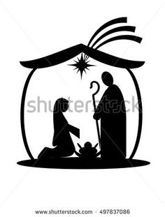 236x311 Black Silhouette Nativity Scene Isolated. Vector Illustration By