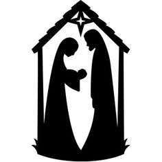 236x236 Easy Nativity Silhouette For Children Joseph, Mary And Baby Jesus
