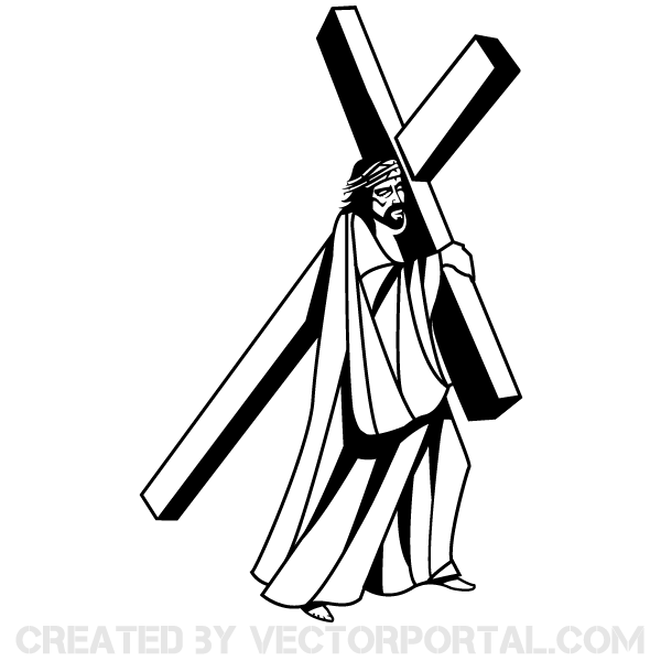600x600 Jesus Christ Carrying The Cross Download Free Vector Art Free