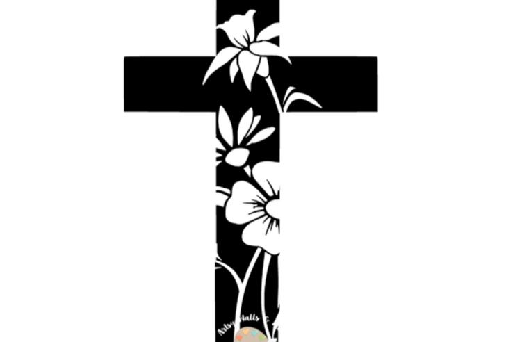 738x492 Cross With Transparent Flowers Svg Cut Design Bundles