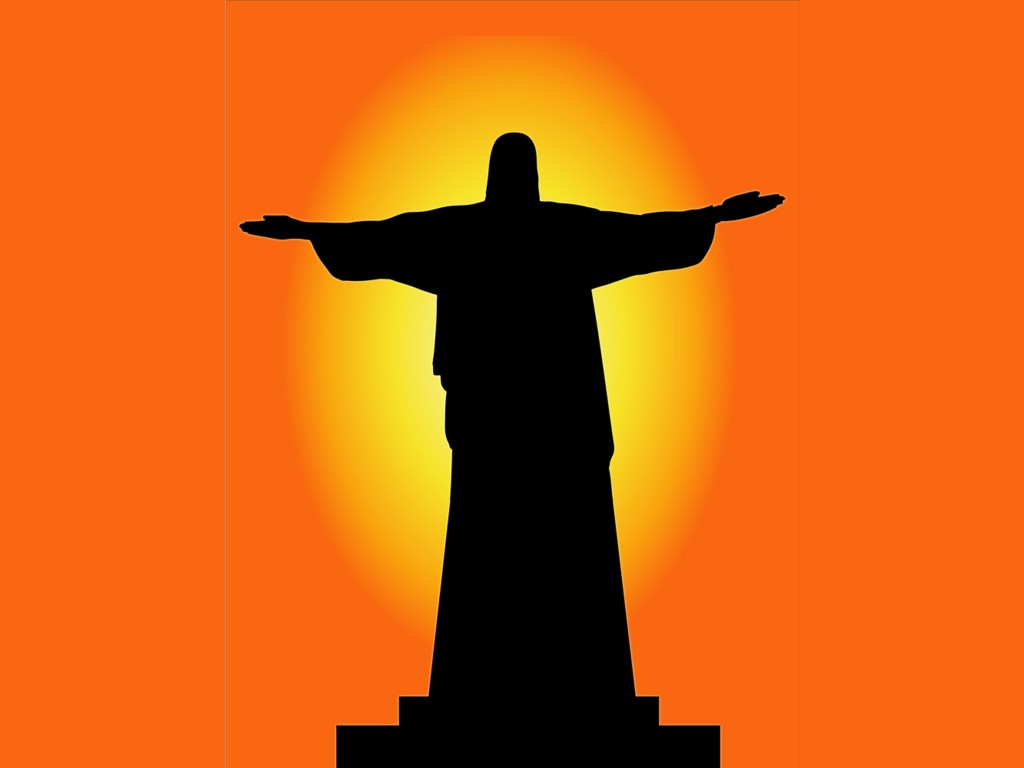 1024x768 Silhouette Of Christ