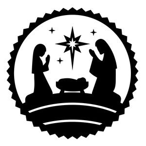300x300 Nativity Circle Jesus Silhouette Design, Silhouettes And Store