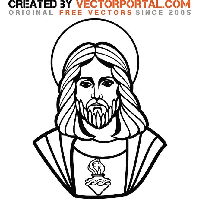 660x660 Jesus Face Silhouette Vector