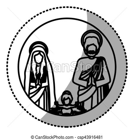 450x470 Sticker Silhouette Sacred Family With Baby Jesus Vector Vector