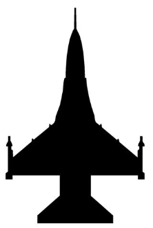 222x330 Fighter Jet Silhouette 2 Decal Sticker