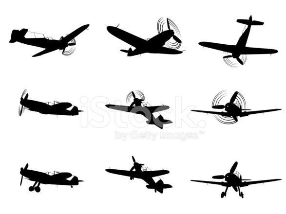 587x440 Fighter Plane Silhouettes Stock Vector