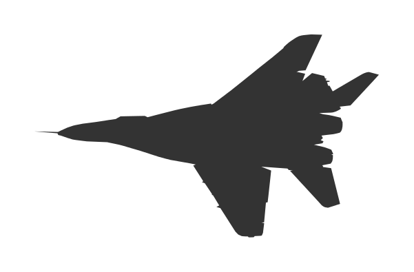 601x395 5 Fighter Plane Top View Silhouette Vector (Eps, Svg)