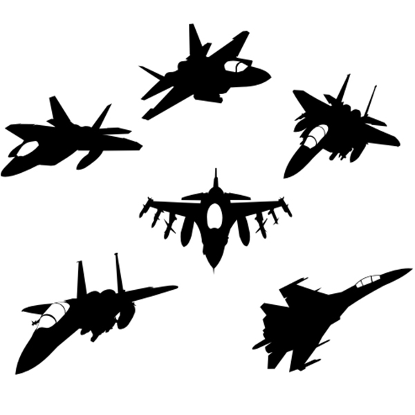 600x600 Jet Fighter Silhouettes 365vectors
