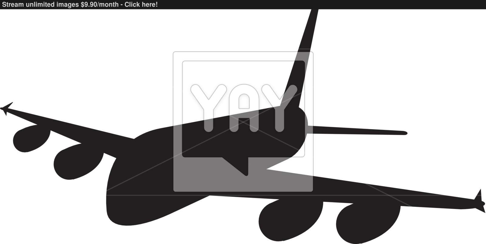 1600x802 Commercial Jet Plane Airline Silhouette Vector