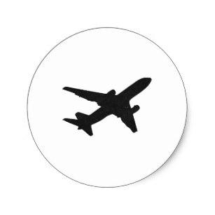 307x307 Airplane Silhouette Stickers Zazzle
