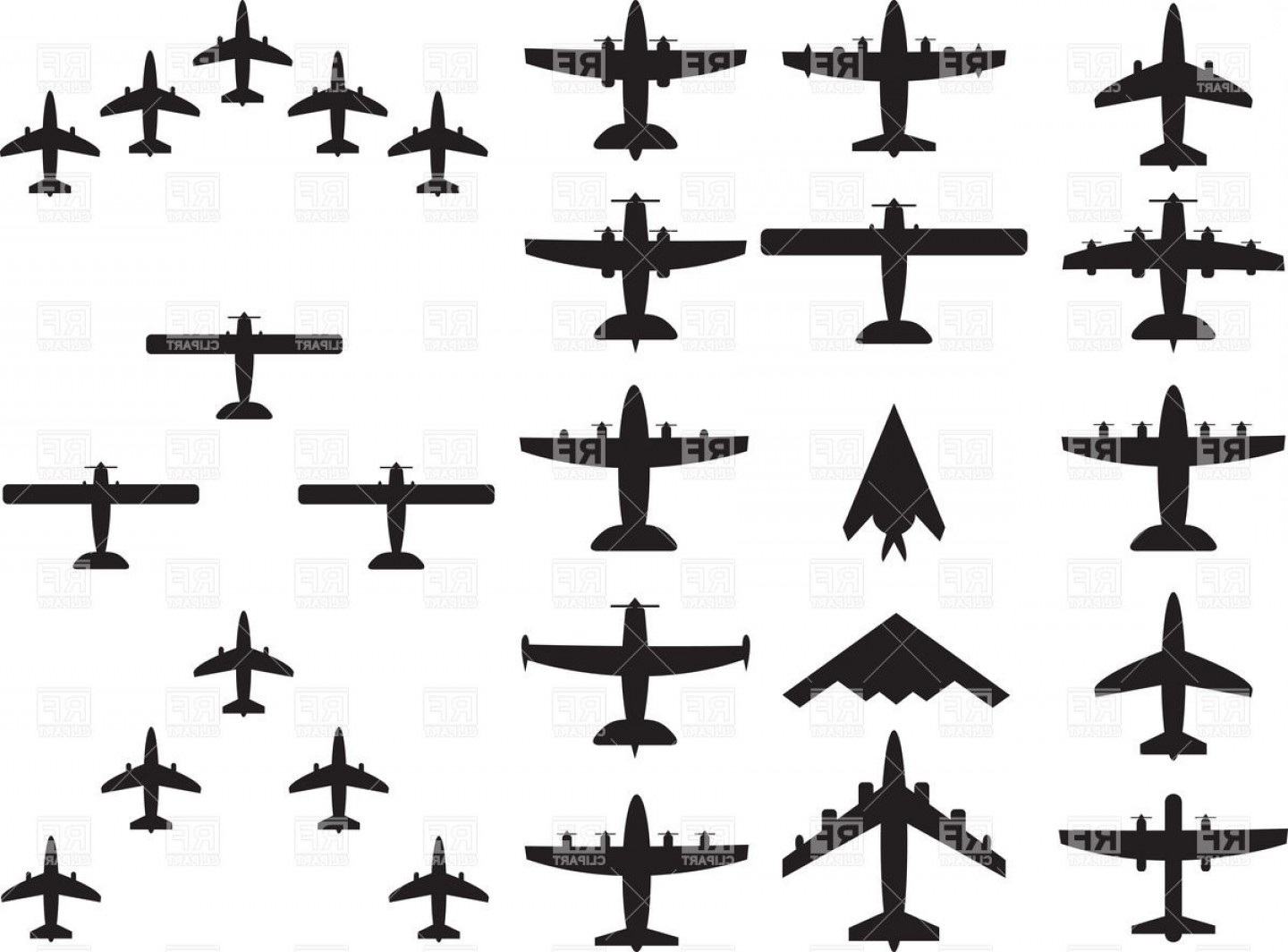 1440x1064 Military And Civilian Airplane Silhouette Top View Of Bombers Jets