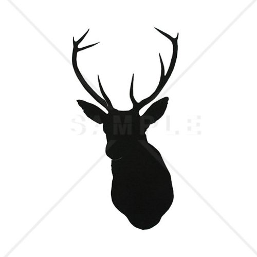 500x500 Deer Head Silhouette Counted Cross Stitch Pattern