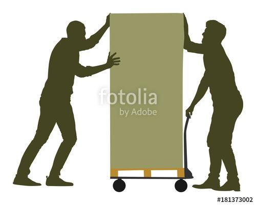 500x401 Hard Workers Pushing Wheelbarrow And Carry Big Box Vector