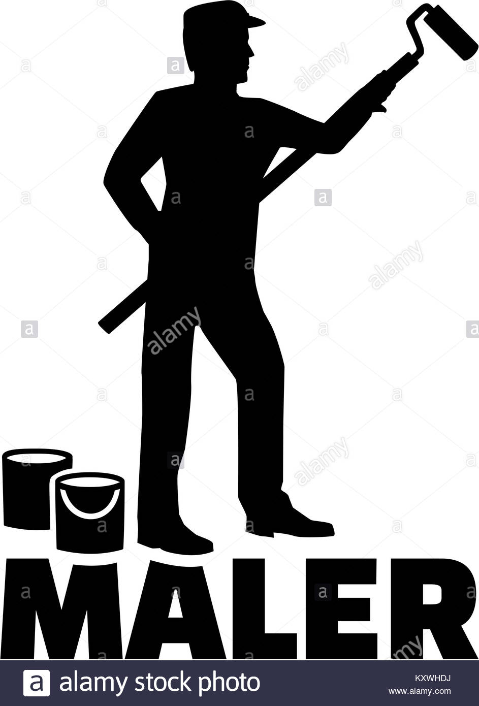 943x1390 Painter Silhouette With German Job Title Stock Photo 171436878