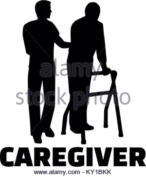 300x364 Silhouette Of A Male Caregiver With An Elderly Man And Job Titile