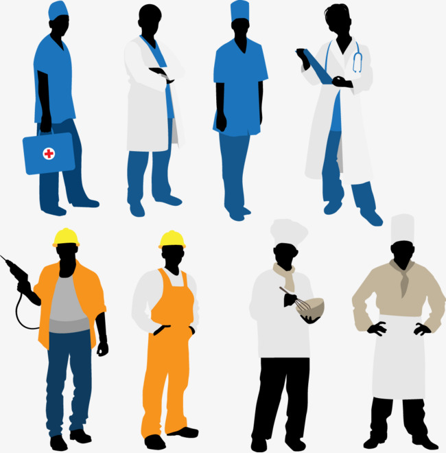 650x660 Various Occupations Silhouette Figures, Decoration, Vector