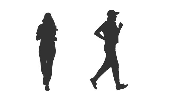 590x332 Silhouette Of Young Woman Jogging On Transparent Background By