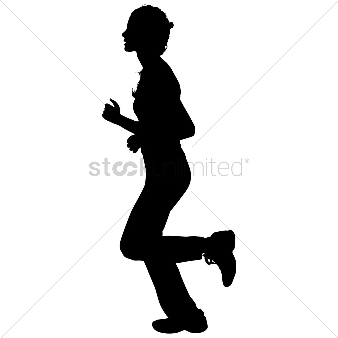 1300x1300 Silhouette Of A Girl Jogging Vector Image