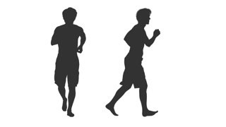 320x180 Silhouette Of Jogging Male In Shorts, 2 In 1, Alpha Channel Stock