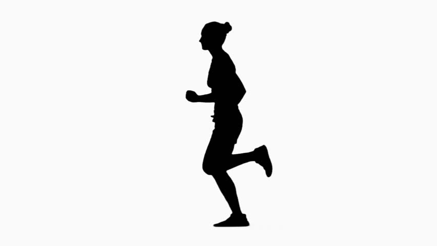 852x480 Woman Jogging. Side View. Silhouette. Slow Motion Stock Footage