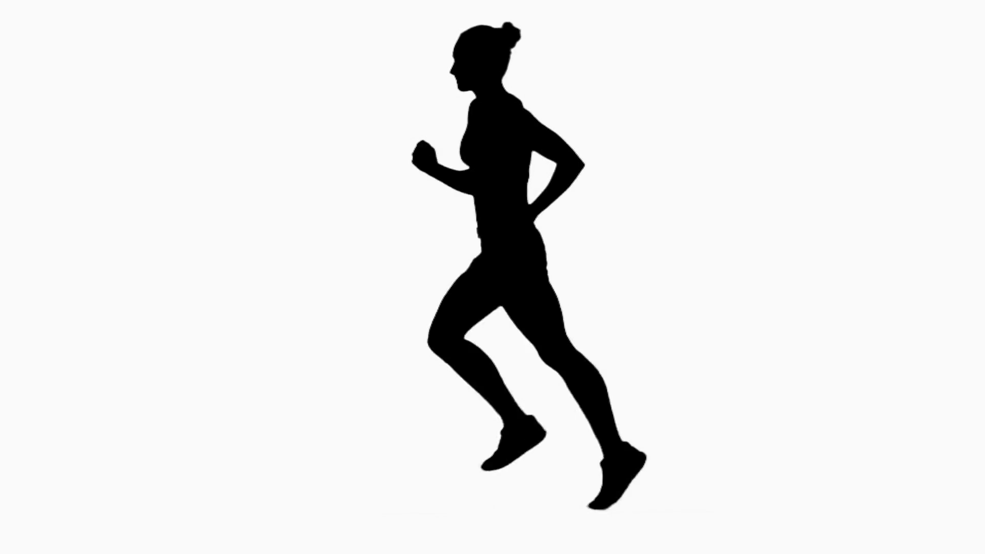 1920x1080 Woman Jogging. Side View. Silhouette. Slow Motion Stock Video