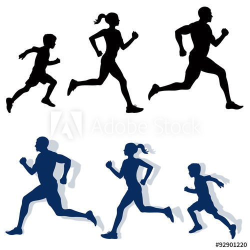 500x500 Family Jogging Silhouettes