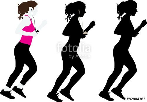 500x347 Girl Jogging Vector Silhouette Stock Image And Royalty Free