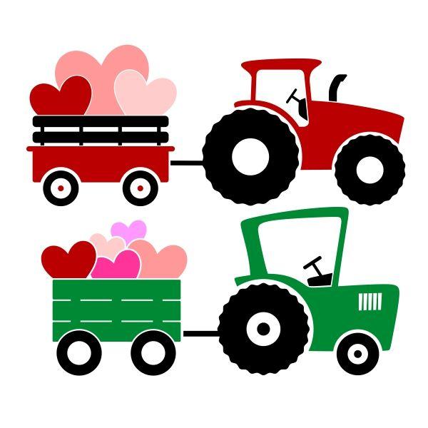600x600 Wagon Tractor Svg Cuttable Design Valentine's Day