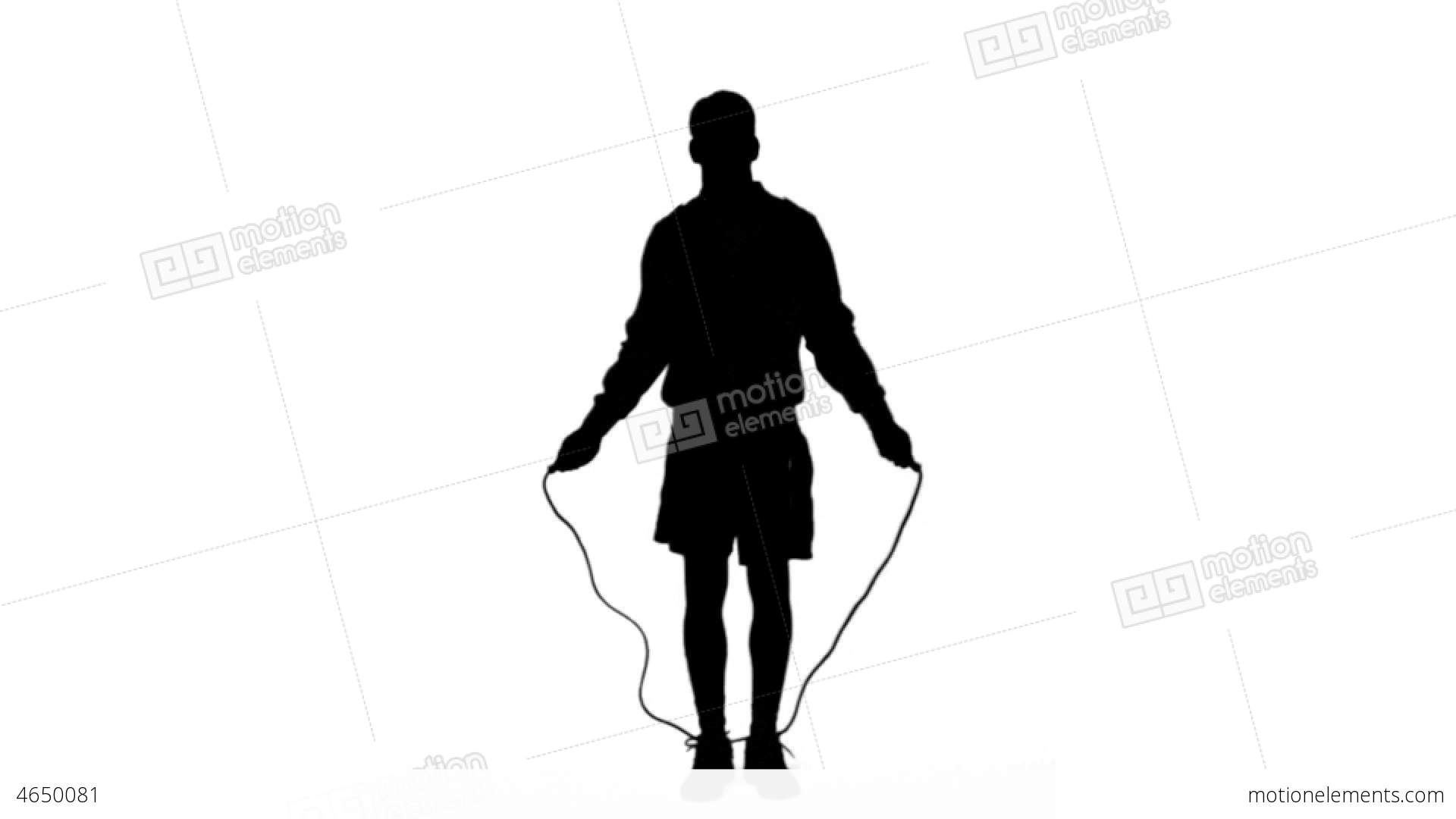 1920x1080 Silhouette Of A Man Working Out With A Rope On Whi Stock Video