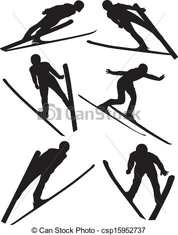 355x470 Ski Jumping Silhouette On White Background Vectors