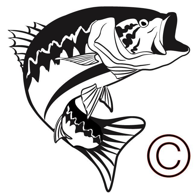 650x650 Big Mouth Bass With Fishing Line Clipart