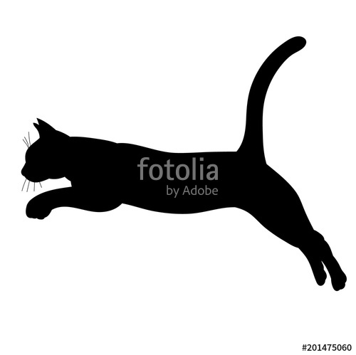 500x499 Silhouette Cat Jumping, Icon, Isolated Stock Image And Royalty