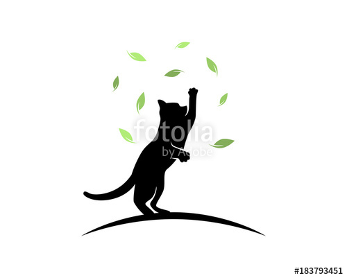 500x401 Cat Playing And Jumping Catching Falling Leaves Silhouette