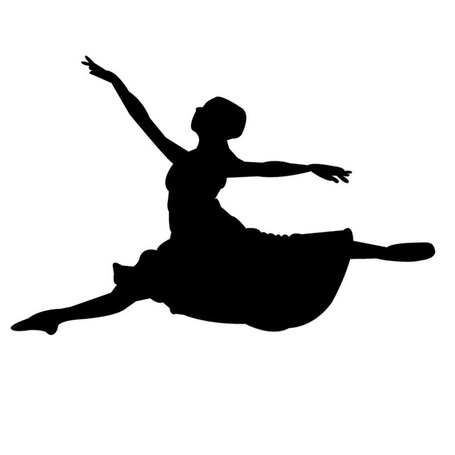 640x640 Hot Sale Vinyl Leaping Ballet Dancer Silhouette Wall Decals