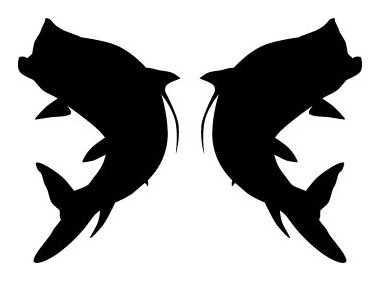 380x281 Two Opposing Silhouettes Of A Tarpon Jumping Vinyl