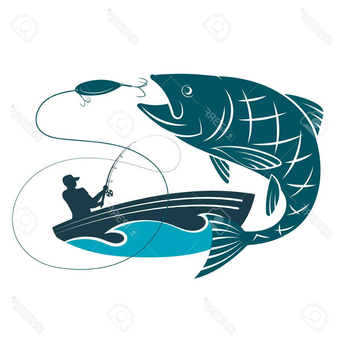 1300x1300 Unique Fish Jumping For Bait And Fisherman In Boat Silhouette Cdr