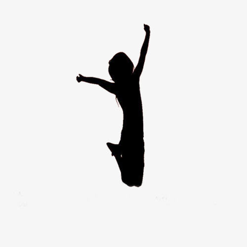 500x500 Happy Little Girl Silhouette, Girl, Jump, Flight Png Image