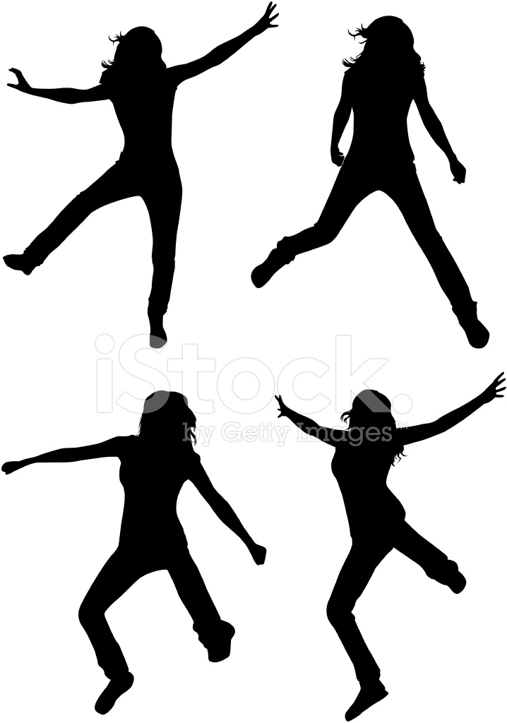 718x1024 Jumping Girls Silhouette Vector Stock Vector